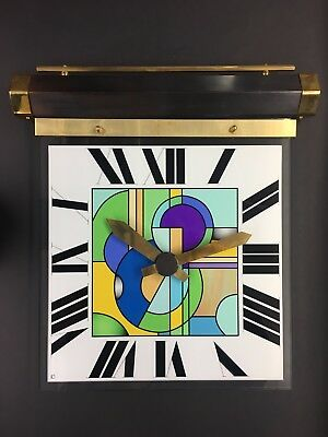 Handmade art deco style hanging wall clock glass copper and brass