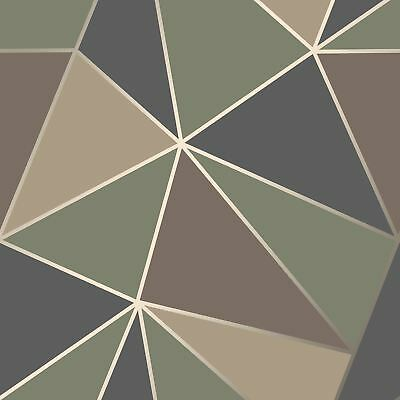 Apex Geometric Wallpaper Camo Green - Fine Decor Fd42000 Luxury