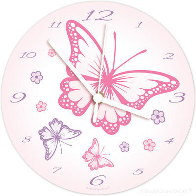 CHASING BUTTERFLIES childrens bedroom WALL CLOCK (matches our girls room decor)