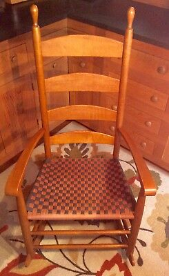 Hagerty Cohasset Colonial 19th c. Shaker Rocking Chair w/ Woven Cloth Seat EUC