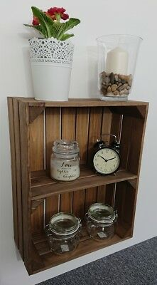 Wooden Shelves Apple Crate Vintage Style Display Unit Brown 1 Shelf Farm Shop