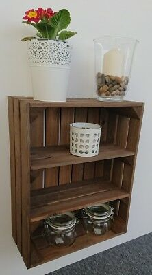 Wooden Shelf  Apple Crate Vintage Style Display Unit Brown 2 Shelves