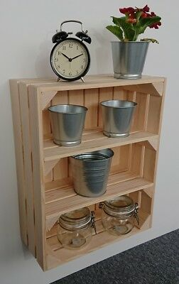 Wooden Shelf  Apple Crate Vintage Style Display Unit Natural 2 Shelves