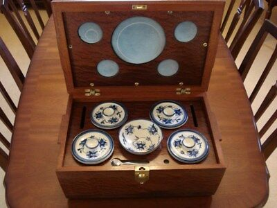 Tea caddy with mixing bowl in fitted wooden box - very unusual - Price Reduced