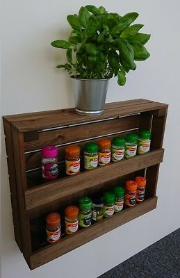 Wooden Spice Rack Wall Mounted Or Free Standing Vintage Brown jp051