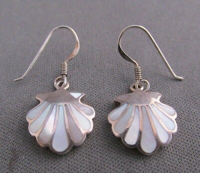 Vintage Sterling Ocean Clam Shell Mother Of Pearl Inlay Dangle Pierced Earrings