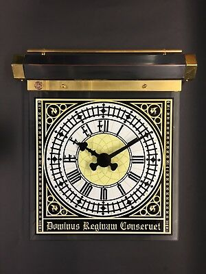 Handmade Big Ben parliament art deco hanging wall clock glass copper and brass