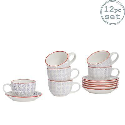 Cappuccino Cups and Saucers Set Coffee Tea Porcelain 250ml - Purple Red - x6