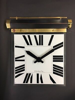 Handmade art deco hanging wall clock black and white glass copper and brass