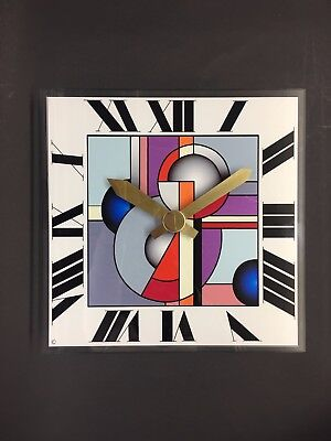 Handmade art deco style wall clock glass and brass