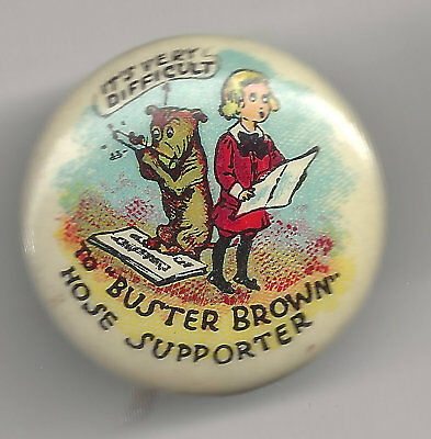Vintage Celluloid BUSTER BROWN Pin w/ Dog Tige Playing Flute