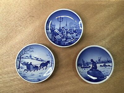 Three Miniature Hanging Plates - Royal Copenhagen Mark