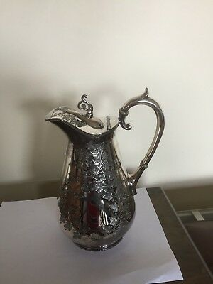 "Large Silver Plated Claret Jug With Date 1884 And An Inscription (9.75"" Tall)"