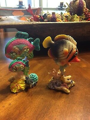Tropical Fish Collection 2 Colorful Resin Lake House Beach or Coastal Decor