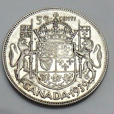 1939 Canada 50 Fifty Cents Half Dollar Canadian Circulated Coin F399