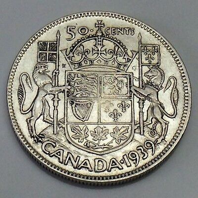 1939 Canada 50 Fifty Cents Half Dollar Canadian Circulated Coin F400