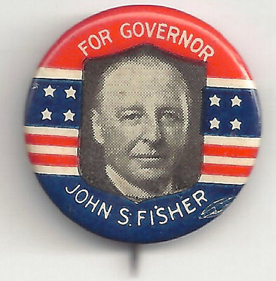 1926 John S. Fisher for PA Governor Pin w/ backpaper