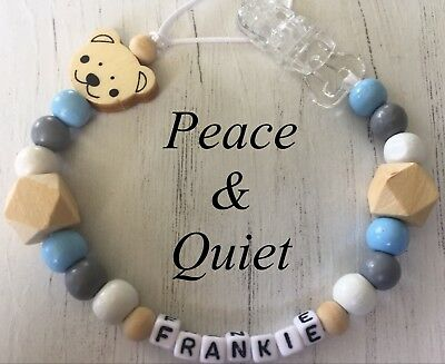 Personalised Dummy Clip💙Wooden💙Dummy Chain💙natural💙blue💙boy💙gift #PWP