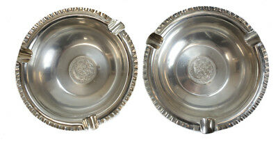 Pair Welsh Peruvian Sterling Silver Coin Mounted Three Cigar Ashtray, c.1915