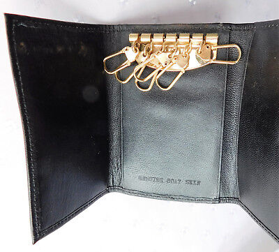 Vintage black goatskin key pouch wallet real leather County holder for 6 keys