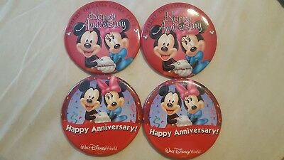 Disney4 buttons WDW Happy Anniversary 2 diff kinds both retired Mickey Minnie