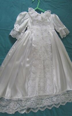 Vintage Lace Handmade Retro Baby Christening Gown Lace White Gorgeous Item LOOK