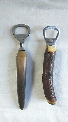 Two Vintage Horn Handled Bottle Openers One Sheffield England