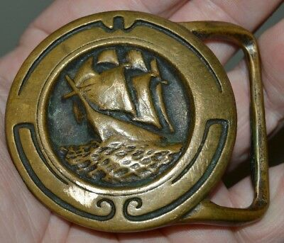 Nice Vintage 1974 TECH ETHER Pirate Ship Nautical Solid Brass Belt Buckle RARE