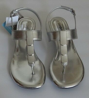 Comfort Plus By Predictions Silver Quartz Low Wedge Heel Back Strap Sandal Shoes