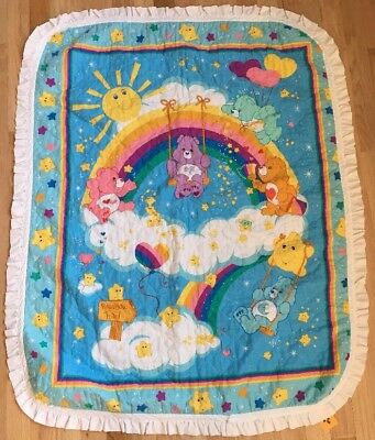 EUC Vintage Care Bear Baby Toddler Crib Quilt Wall Hanging With Ruffle Edge