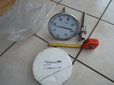 """6in WIKA TEMPERATURE 6"""" DIAL THERMOMETER PROBE GAUGE 0 - 60° DEGREES LONG STEM"""