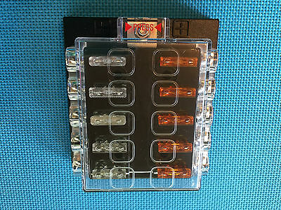 Atc / Ato Medium 12 Way Covered Fuse Panel Block With Fuses