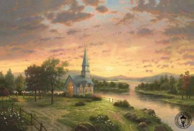 "SUNRISE CHAPEL Thomas Kinkade, Small Postcard - 6"" x 4"" Church Sunset Creek"