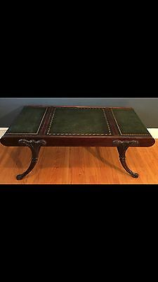 Mahogany Leather Top Coffee Table Hollywood Regency Vintage Antique