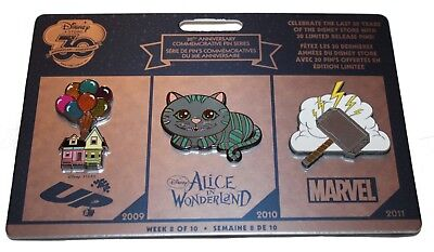 Disney Store 30th Anniversary Pin Set Week 8 Up House Alice Cheshire Cat Thor