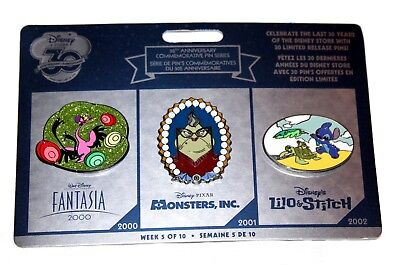 Disney Store 30th Anniversary Pin Set Week 5 Fantasia Monsters Inc Roz Stitch