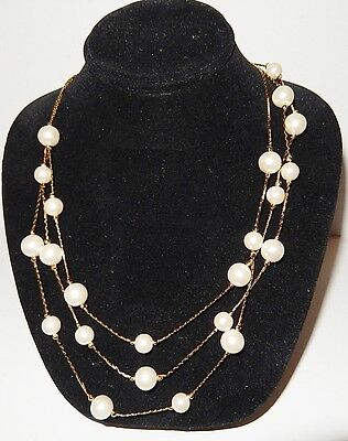 Vintage Gold Tone 3 Strand Faux Pearl Necklace length 16 1/2 inches