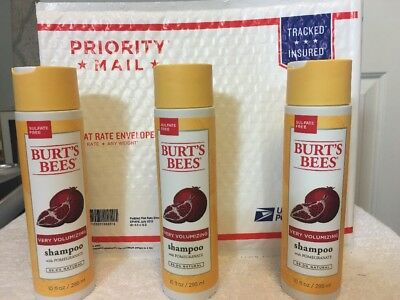 3X Burt's Bees Very Volumizing Shampoo  Pomegranate Sulfate Free 10 OZ—3 PIECES