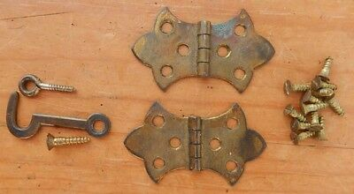Pair Antique BRASS Butterfly Hinges WITH Original Screws for Matched Patina