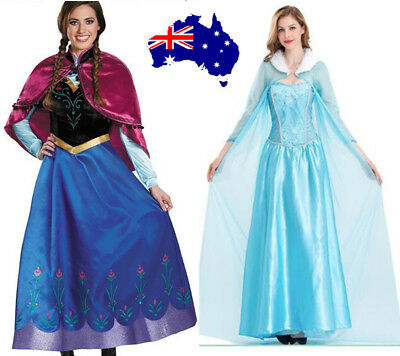 Book Week Ladies Adult Idea Frozen Anna Princes Elsa Queen Fancy Dress Costume