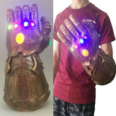 1:1 Avengers Thanos Infinity Gauntlet  LED Light Glove Cosplay Halloween Props