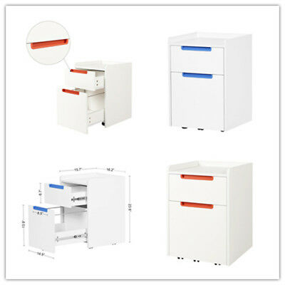 Orford 2 Drawer Wood File Cabinet Mobile Home Office Furniture in White Finish
