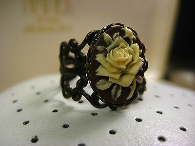 Antique Beautiful Stunning Bronze Tone Filigree Rose Cameo Open Ring Size 7
