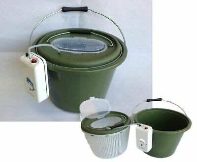 3in1 LIVE BAIT BUCKET REMOVABLE INNER BUCKET & AERATOR PUMP-12L-150hrs RUN TIME