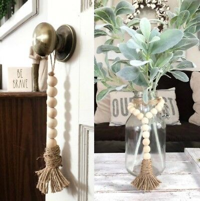 Tassle Farmhouse Beads Natural Wood Bead Garland Kids Baby Nursery Room Decor