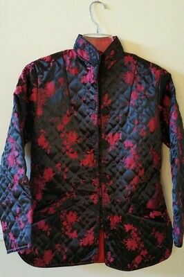 Chinese Raw SILK Floral Quilted Jacket Black / Bright Pink size 6/8 Mint