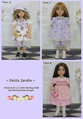 """Smocked Top, Skirt and Pants Pattern for 13"""" Effner Little Darling Dolls by DHD"""