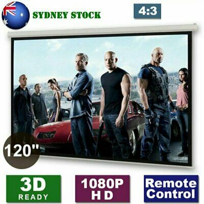 """120"""" Inch Electric Motorised Projector Screen Home Theatre HD TV Projection 3D W"""