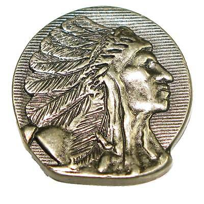 """Indian Head Concho Right Facing 1.25"""" (32mm) Antique Silver Splashback"""