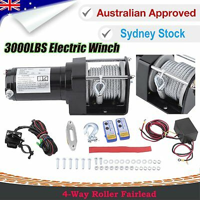 3000LBS/1361kg Electric Winch Wireless Steel Cable 12V 2x Remote Heavy Duty BG